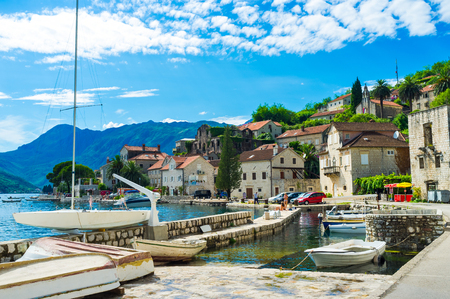 The tiny shipyard with a few fishing boats in Perast town centre, Montenegro. photo