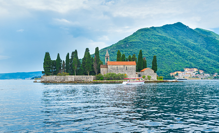 The St George islet is one of the most beautiful landmarks in Kotor bay, Montenegro. photo