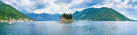 Panorama of the Kotor bay with the St Geouge islet in the middle and the coast of Perast on the left side, Montenegro. photo