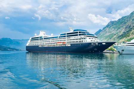 The large cruise liner in port of Kotor, Montenegro. photo