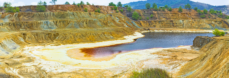 toxicology: The open mine-pit lake with the sulfides crystallized on its banks, Sia, Cyprus.