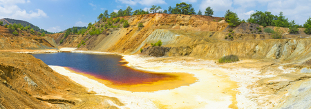 crystallization: The copper mine with the lake nusual color due to crystallization of sulphur on its bottom and banks, Sia, Cyprus.