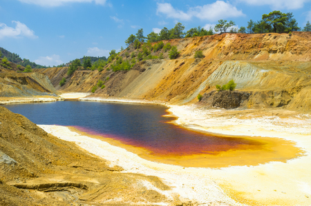 toxicology: The sulfur lake on the bottom of the deserted copper mine, Sia, Cyprus.