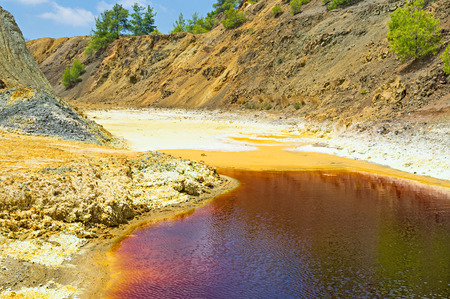 toxicology: The mine lake has red waters and yellow banks due to crystallized sulfides, Sia, Cyprus.