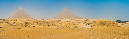 Panorama of Giza Necropolis with the Pyramid of Khafre (Chephren), the Pyramid of Cheops (Khufu) and Great Sphinx, Egypt.