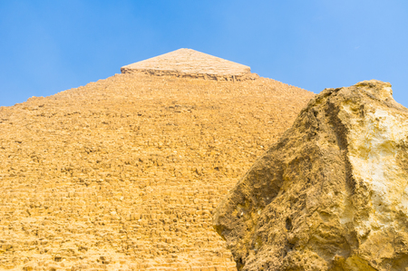 chephren: The old ruined wall of the Pyramid of Khufu, Giza, Egypt. Stock Photo