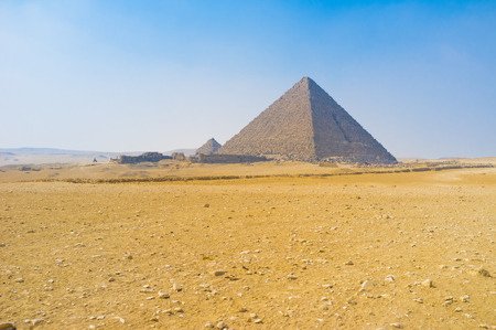 notable: The Pyramids of Giza are the most notable landmarks, built in desert, Egypt.