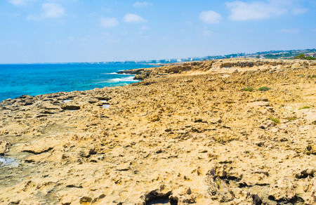 best place: The rocky seashore is the best place for daily walks, Ayia Napa, Cyprus. Stock Photo
