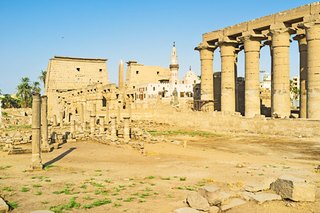 thebes: The Abu el-Haggag mosque is built-up on the ruins of the ancient Temple, Luxor, Egypt.