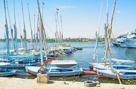 best way: LUXOR, EGYPT - OCTOBER 8, 2014: The best way to discover Nile river is to take a motor boat or felucca, on October 8 in Luxor, Egypt. Editorial