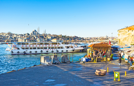 city fish market: ISTANBUL, TURKEY - JANUARY 13, 2015: The ferry arrived to the fish market, located next to Galata Bridge in the old town, on January 13 in Istanbul.