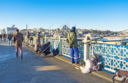 city fish market: ISTANBUL, TURKEY - JANUARY 13, 2015: The fishing on Galata bridge is the popular time spending among the turks, on January 13 in Istanbul.