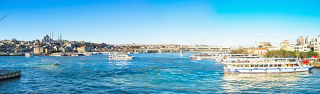 city fish market: ISTANBUL, TURKEY - JANUARY 13, 2015: Panorama of the Golden Horn Bay with the numerous ferries and boats, on January 13 in Istanbul, Turkey.