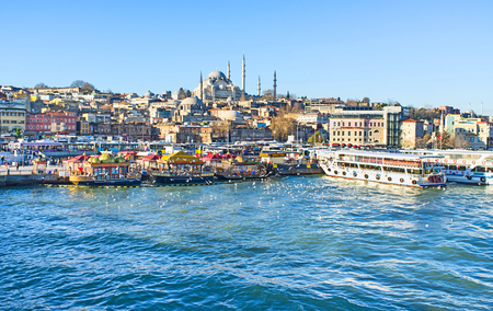 city fish market: The perfect view of the old town and Golden Horn Bay from the Galata bridge, Istanbul, Turkey.