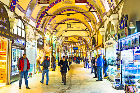 kapalicarsi: ISTANBUL, TURKEY - JANUARY 13, 2015:Kalpakcılar Caddesi, the gold jewellers road, is one of the 61 covered streets inside the Grand Bazaar, on January 13 in Istanbul.