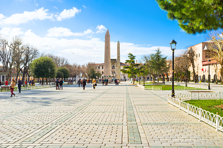 obelisk stone: ISTANBUL, TURKEY - JANUARY 13, 2015: The Sultanahmet square is the popular tourist place with the numerous landmarks and museums, on January 13 in Istanbul. Editorial