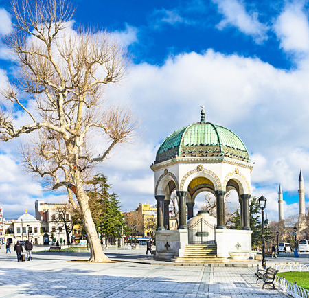 neighboring: ISTANBUL, TURKEY - JANUARY 13, 2015: The  German Fountain neighboring with the old white tree, on January 13 in Istanbul.