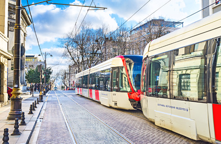 kapalicarsi: ISTANBUL, TURKEY - JANUARY 13, 2015: The tram is the popular public transport in the old town, on January 13 in Istanbul. Editorial