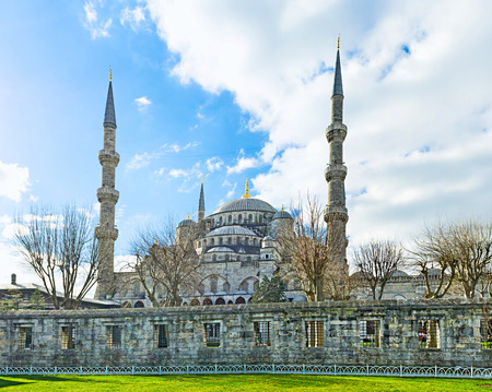rampart: The view on the Blue Mosque behind the old rampart, Istanbul, Turkey.
