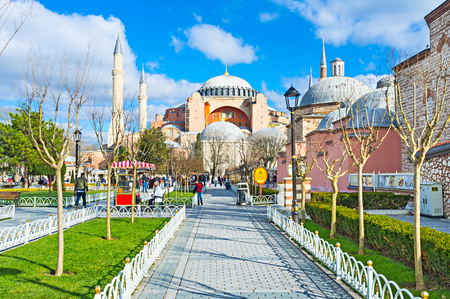 hamam: ISTANBUL, TURKEY - JANUARY 13, 2015: The way along the Sultanahmet park goes to the museum of Hagia Sophia, on January 13 in Istanbul. Editorial