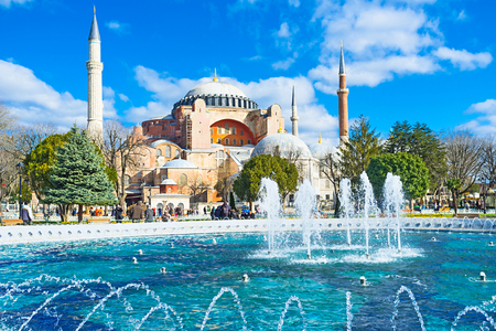 best way: The best way to renjoy the view of Hagia Sophia is to visit Sultanahmet park, Turkey. Editorial