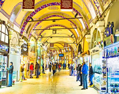 kapalicarsi: ISTANBUL, TURKEY - JANUARY 13, 2015:Kalpakcılar Caddesi, the gold jewellers road inside the Grand Bazaar, on January 13 in Istanbul.