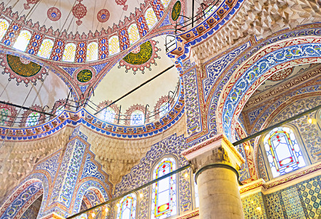 majolica: ISTANBUL, TURKEY - JANUARY 13, 2015: The semi-domes of the Blue Mosque with the colorful traceries, on January 13 in Istanbul.