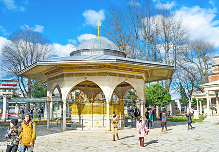 arabic architecture: ISTANBUL, TURKEY - JANUARY 13, 2015: The Hagia Sophia Ablution Fountain (Sadirvan) is the beautiful example of arabic architecture, on January 13 in Istanbul.