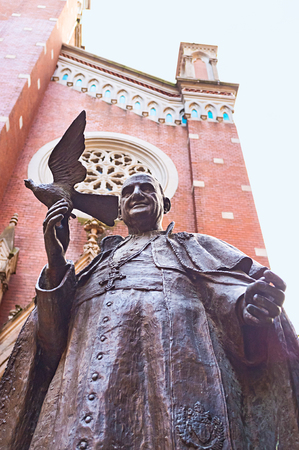 pope: The statue of Pope John XXIII, also known as the Turkish Pope, in the courtyard of St Antonys church, Istanbul, Turkey.