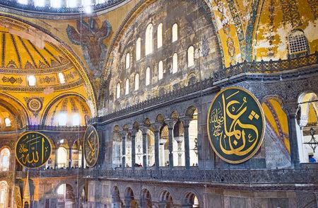 second floor: ISTANBUL, TURKEY - JANUARY 13, 2015: The  stone columns on the terraces of the Hagia Sophia second floor, on January 13 in Istanbul.