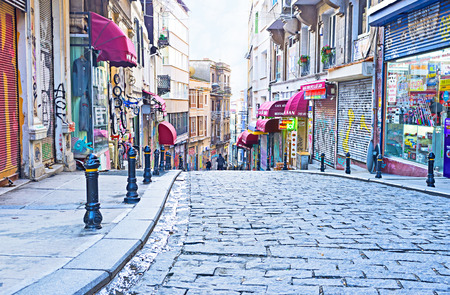 ISTANBUL, TURKEY - JANUARY 13, 2015: The early morning on Galipdede shopping street, on January 13 in Istanbul.