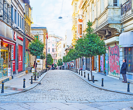 ISTANBUL, TURKEY - JANUARY 13, 2015: The old neighborhood in Beyoglu district with many stores and art galleries, on January 13 in Istanbul.