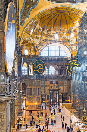 second floor: ISTANBUL, TURKEY - JANUARY 13, 2015: The  main area of Hagia Sophia from its second floor, on January 13 in Istanbul.
