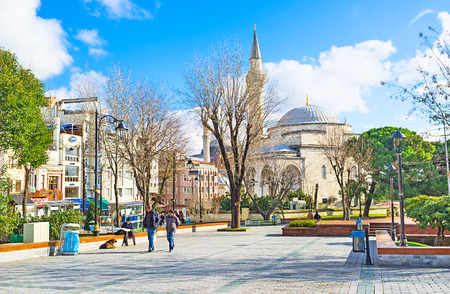 mehmet: ISTANBUL, TURKEY - JANUARY 13, 2015: The view on the Firuz Aga Mosque from the Mehmet Akif Ersoy Park, on January 13 in Istanbul.