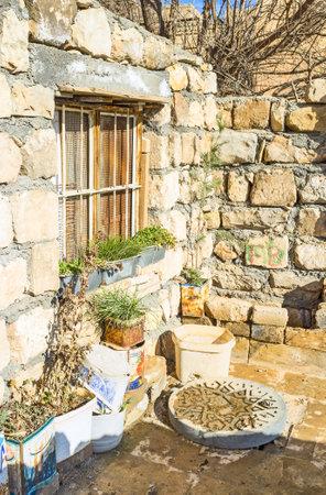 mesopotamian: MARDIN, TURKEY - JANUARY 14, 2015: The tiny stone courtyard in the old neighborhood, on January 14 in Mardin.