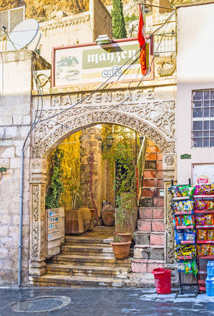 MARDIN, TURKEY - JANUARY 14, 2015: The cozy cafe located in the medieval house in the city centre, on January 14 in Mardin. Editorial