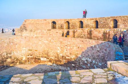 seljuk: ANKARA, TURKEY - JANUARY 16, 2015: The ramparts of the old Ankara citadel nowadays serves as historic museum, on January 16 in Ankara.