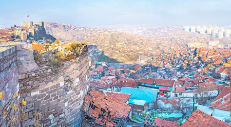 discovering: The Ankara castle is the best viewpoint for discovering the old districts of the city, Turkey.