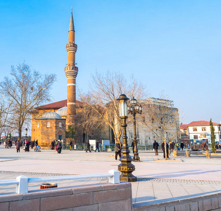 ANKARA, TURKEY - JANUARY 16, 2015: The Hacı Bayram Square is famous for its ancient religious landmarks, such as Hacı Bayram Mosque and the Temple of Augustus and Rome, on January 16 in Ankara.