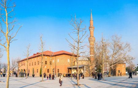 seljuk: ANKARA, TURKEY - JANUARY 16, 2015: Panorama of the Hacı Bayram Mosque with the numerous pilgrims next to it, on January 16 in Ankara.