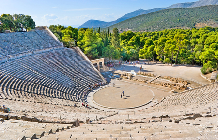 greece: The stone amphiteater in Epidaurus is the fine example of the ancient greek architecture, Epidavros, Greece. Stock Photo