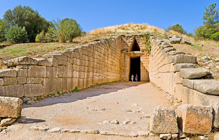 MYCENAE, GREECE - OCTOBER 10, 2013: The Treasury of Atreus or Tomb of Agamemnon is an impressive tholos tomb on the Panagitsa Hill, on October 10 in Mycenae, Greece.