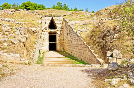 trojans: The Tomb of Clytemnestra, the wife of king Agamemnon, the leader of the Greeks against the Trojans in Trojan War, Mycenae, Greece.