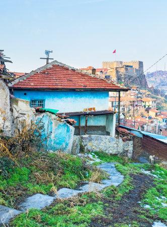 seljuk: The tiny house with the Ankara citadel on the background, Turkey. Editorial