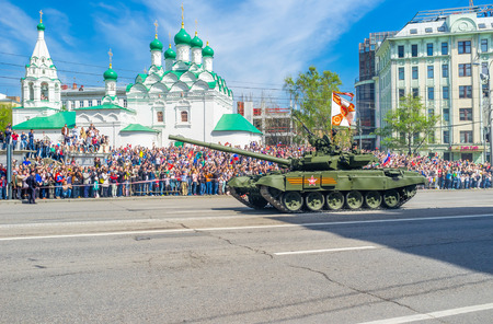 battle tank: MOSCOW RUSSIA  MAY 9 2015: The  thirdgeneration main battle tank T90 Vladimir on the Parade on May 9 in Moscow.