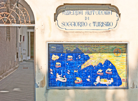 seamaid: AMALFI, ITALY - OCTOBER 5, 2012: The medieval tiled map of the Amalfi coast, on October 5 in Amalfi. Editorial