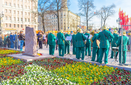brass  band: MOSCOW, RUSSIA - MAY 9, 2015: The brass band in the retro costumes on the music festival on Strastnoy Boulevard, on May 9 in Moscow. Editorial