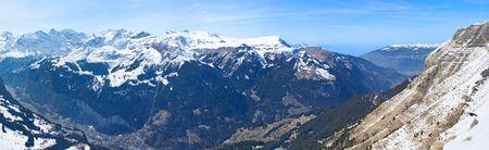 snowbound: The aerial view on the snowbound Alps from the top of Mannlichen, Grindelwald, Switzerland.