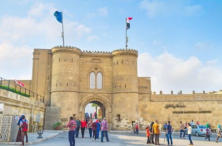 CAIRO, EGYPT - OCTOBER 9, 2014: The medieval gate on the territory of the Saladin Citadel, on October 9 in Cairo.