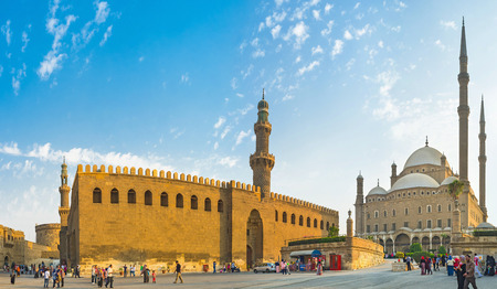 muhammad: CAIRO, EGYPT - OCTOBER 9, 2014: The  Alabaster mosque and Al-Nasr Muhammad Mosque are neighboring in the Citadel of Saladin, on October 9 in Cairo. Editorial